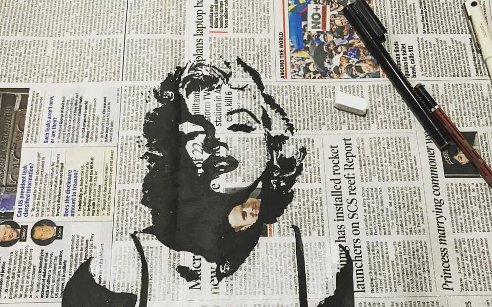 Behind-the-Scene--Newspaper-Art---Work-in-Progress